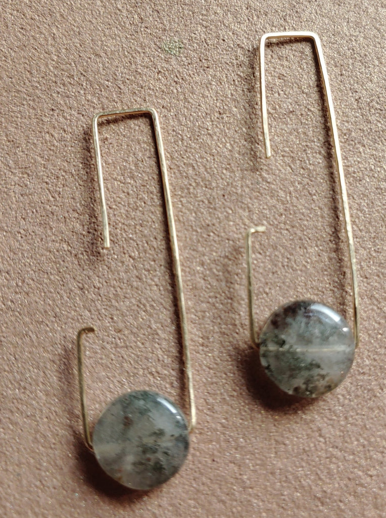 G Shaped Wire Agate Drops