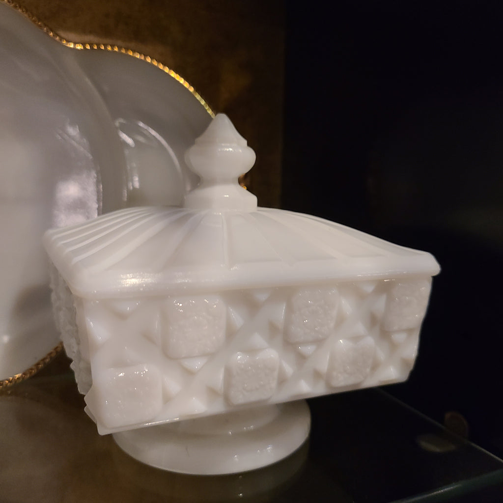 Milk Glass Square Dish with Lid - Footed