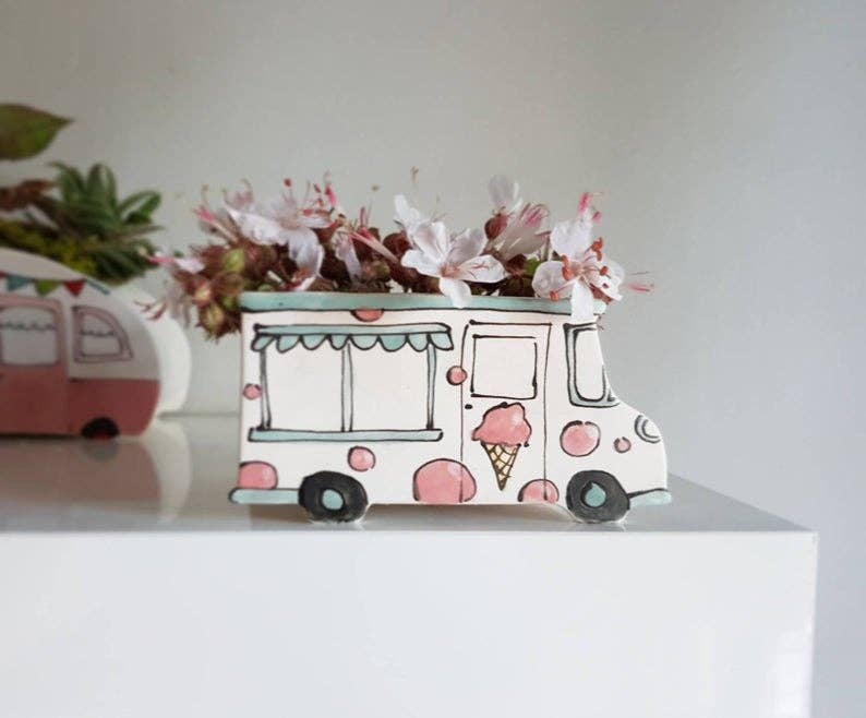 Small Vintage Ice Cream Truck Planter