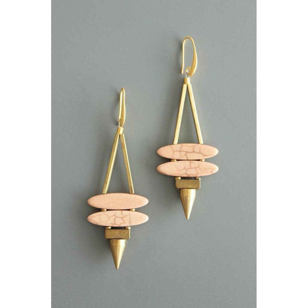 Gold and Pink Magnesite Daggar Earrings