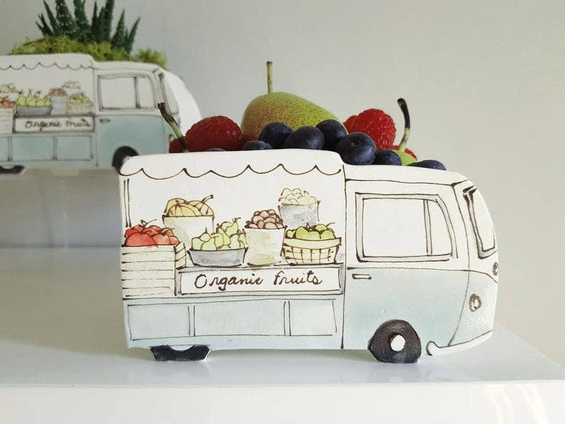 Organic Fruits Vintage Truck Planter