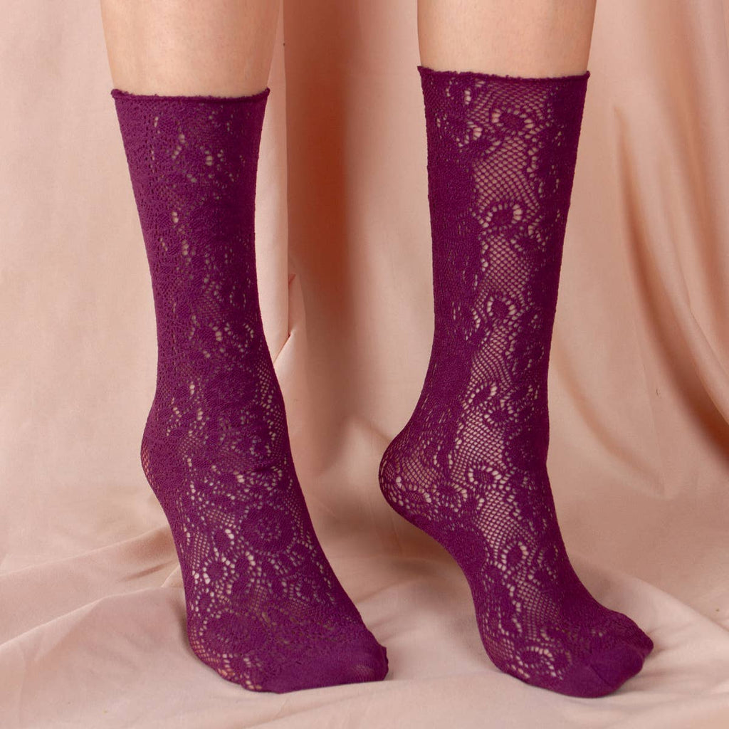 Lola Lace Sock | Purple