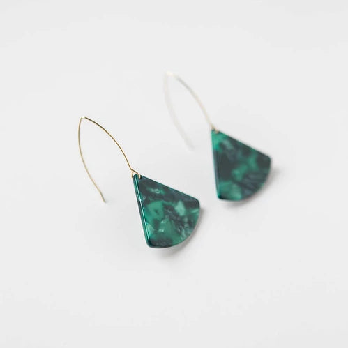 Marbled Green Acrylic Slice + Wire Earring