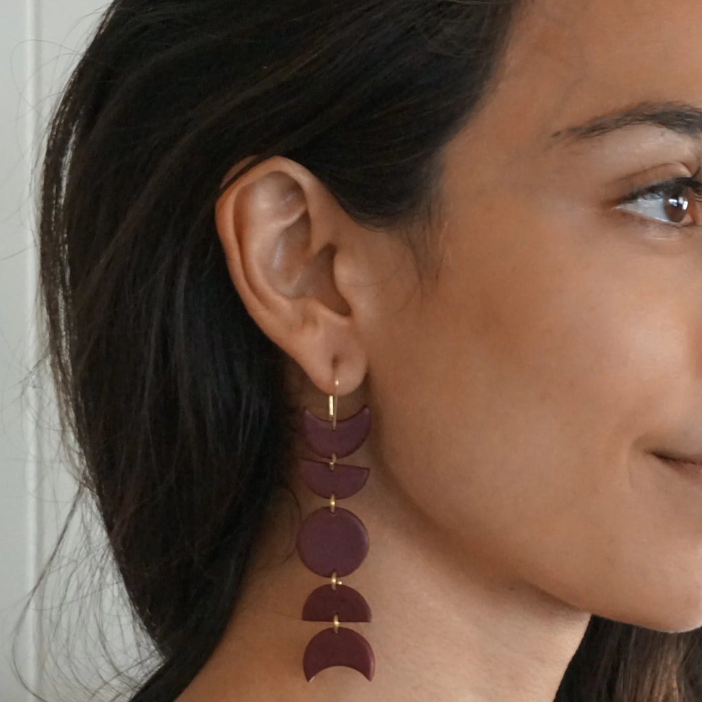 Maroon Moons Earrings