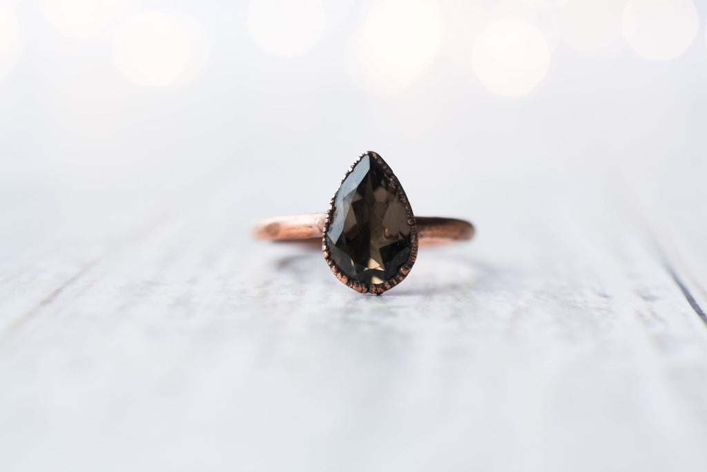 Smokey Quartz Teardrop Ring