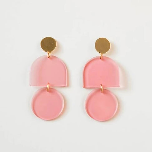 Transparent Tab + Circle Earrings
