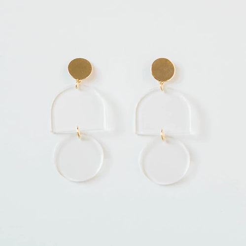 Clear Transparent Acrylic Tab + Circle Earring