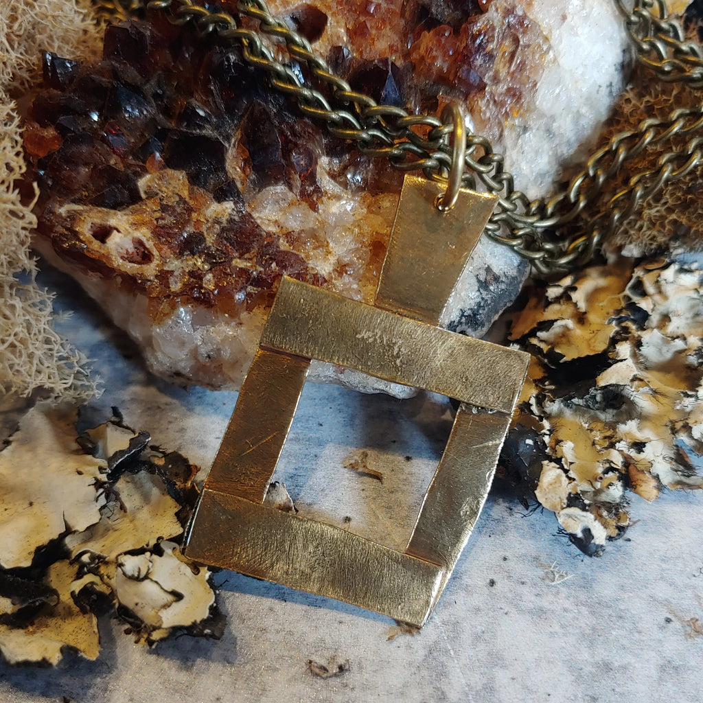 Brass Open Square Necklace