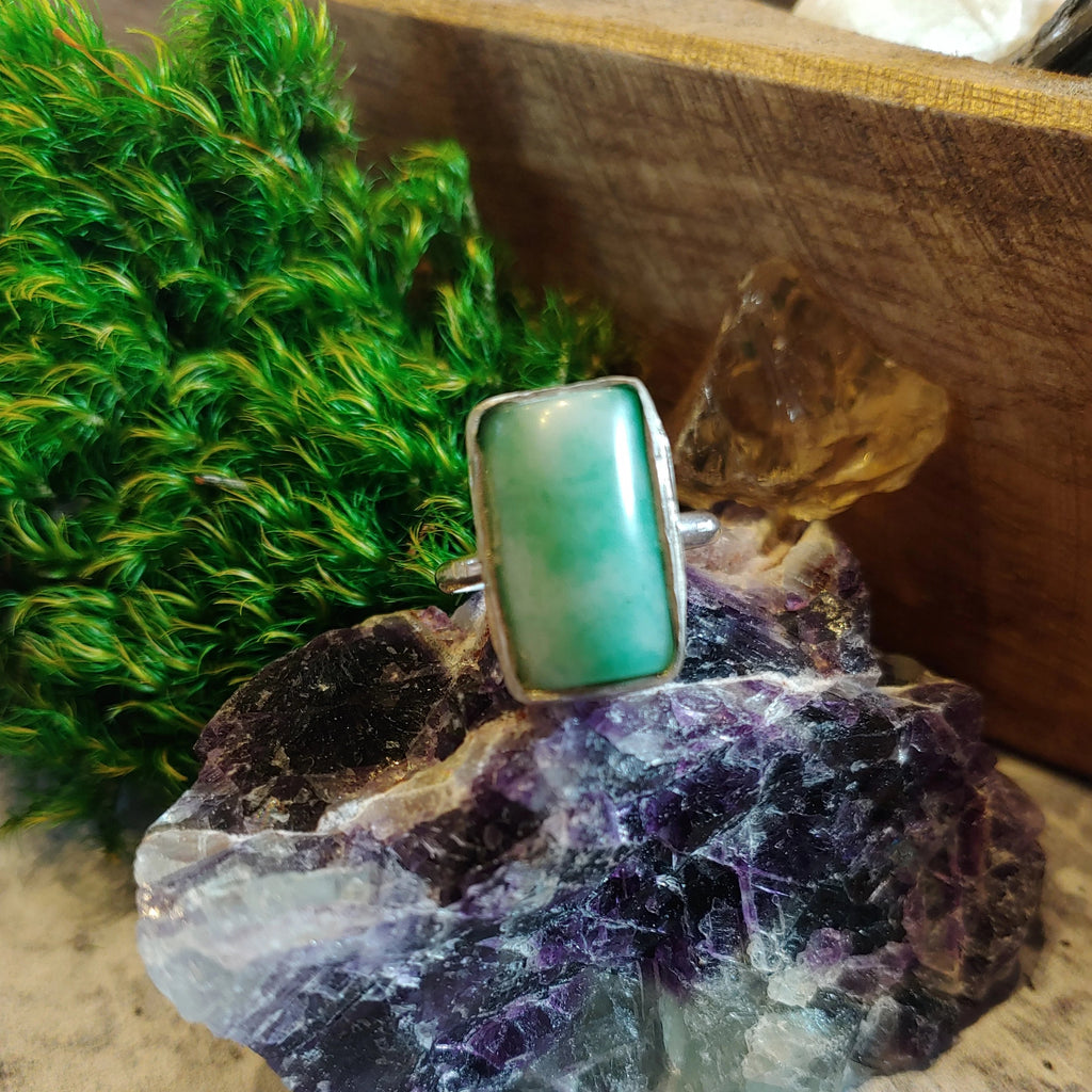 Light Green Agate Rectangle Ring
