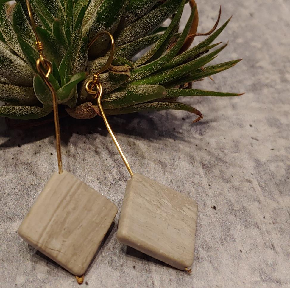 Gold Gray Marble Earrings