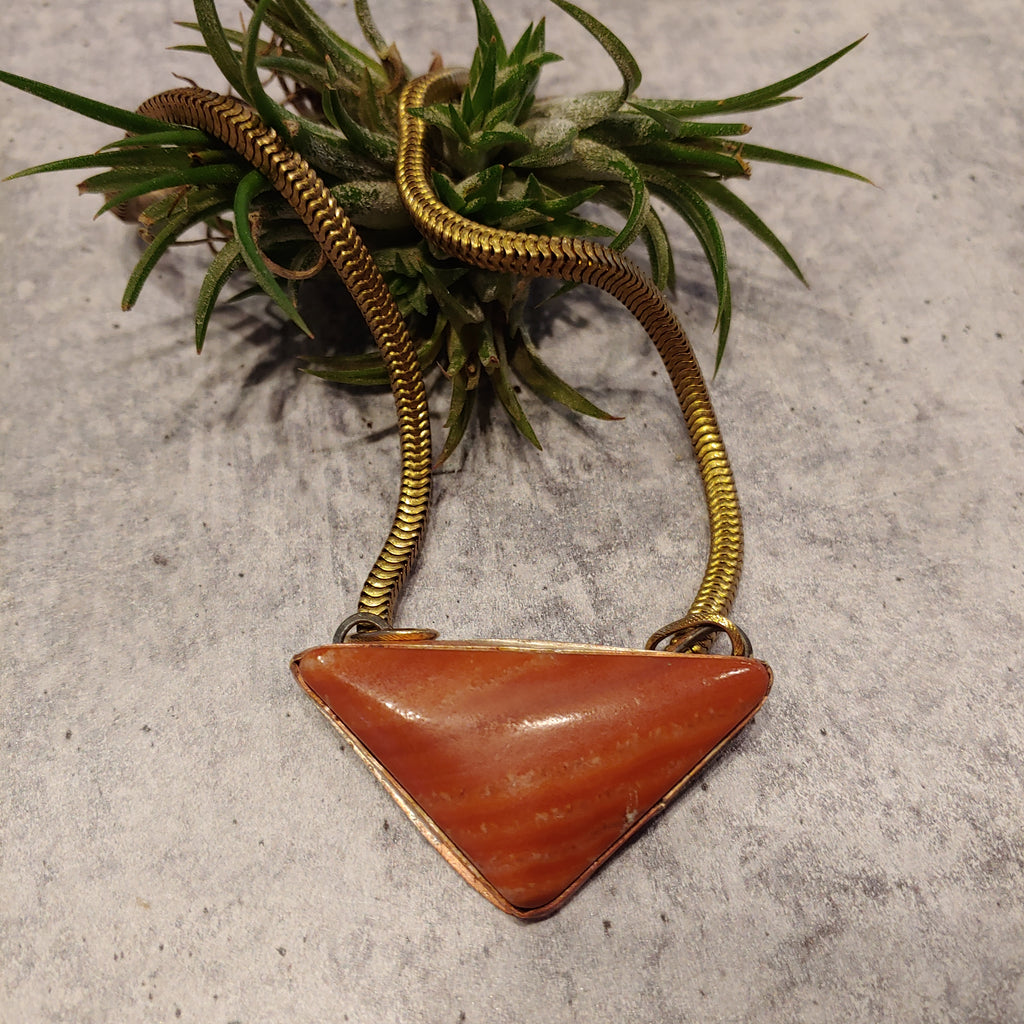 Red Rainbow Onyx Triangle Necklace