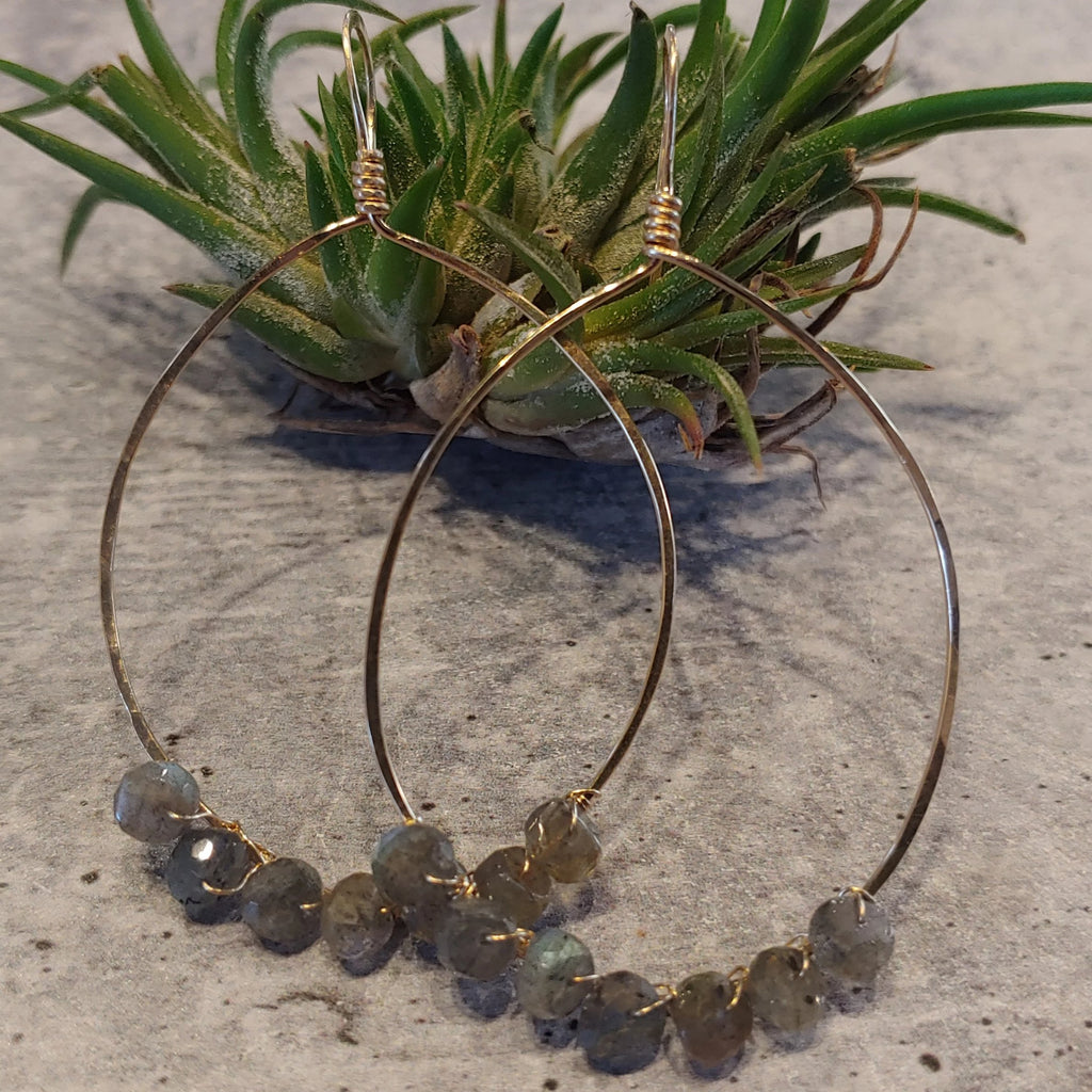 Oval Hoops with Labradorite
