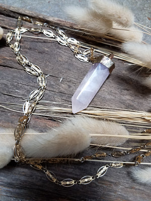 Rose Quartz Tower Necklace
