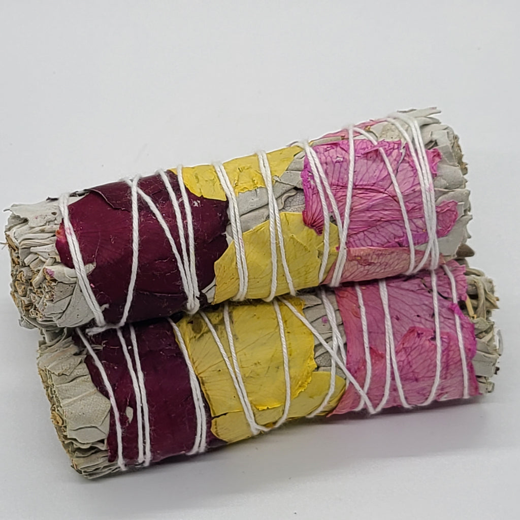 Rose Petal Wrapped White Sage Bundle 4-5""