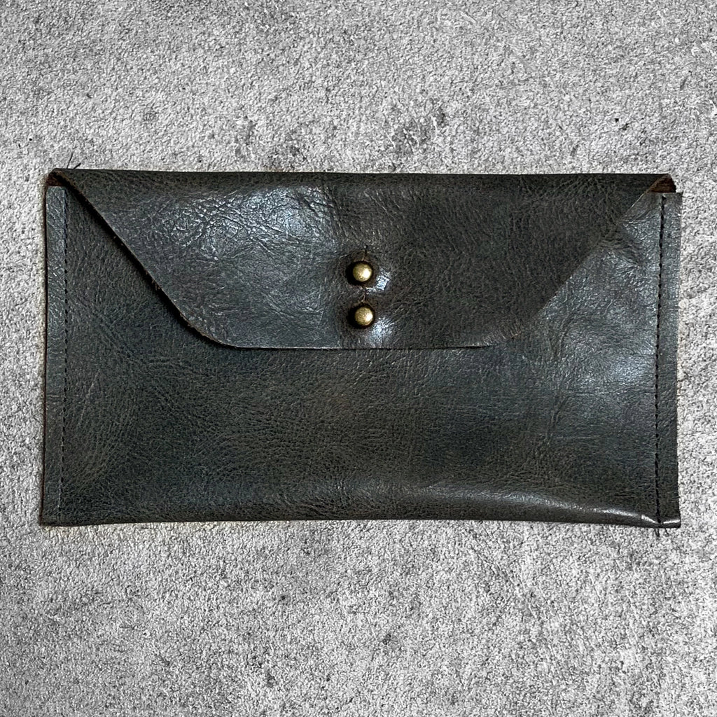 Leather Wallet Clutch in olive with antique brass ball head stud screws.