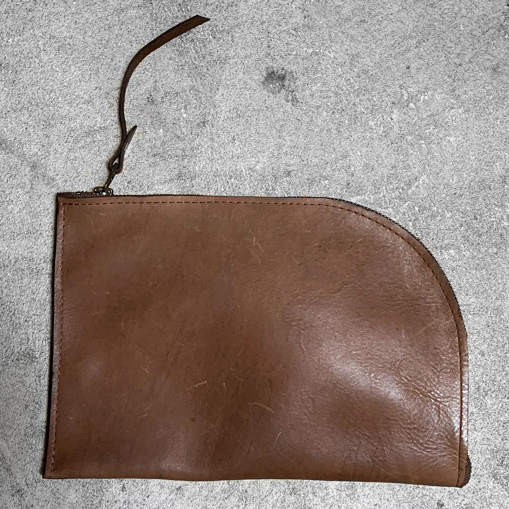 Leather Clutch in saddle, by Admonish.