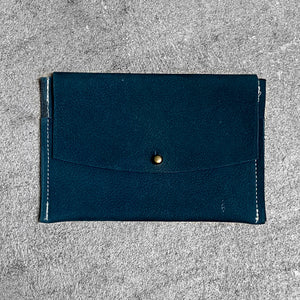 Leather Wallet with Pockets in deep teal with antique brass ball head stud screw.