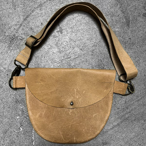 Medium Half Circle Hip or Cross Body Bag in natural leather.