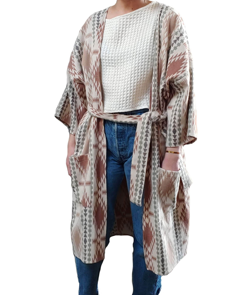 Woven Wrap Coat with Belt