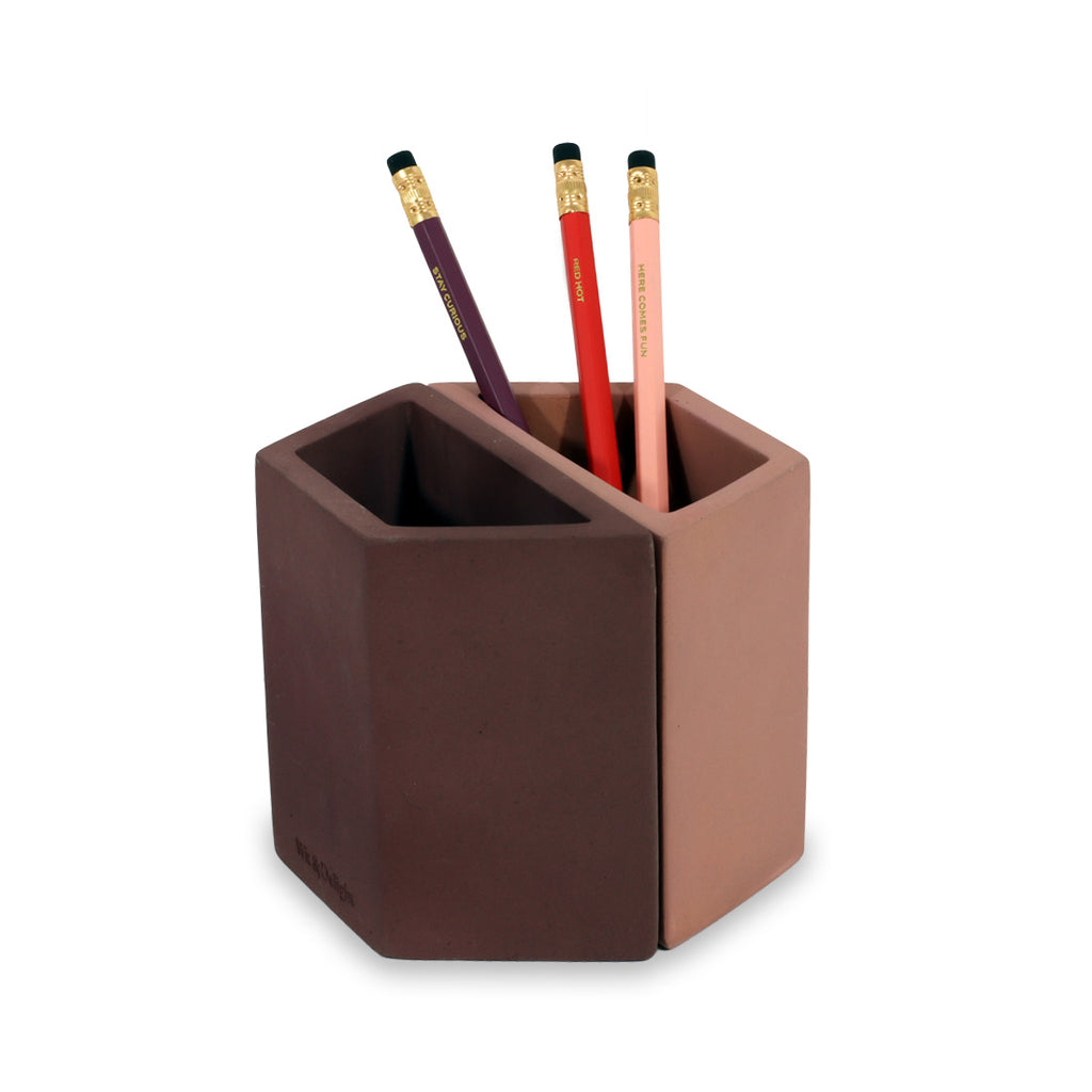 Concrete Pencil Holder - Pink