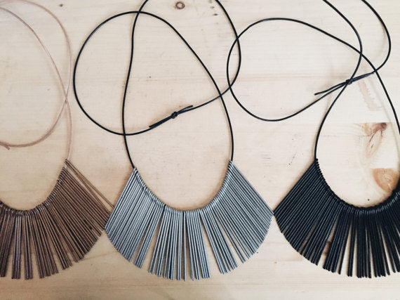 Tumble - Starburst Leather & Metal Necklace