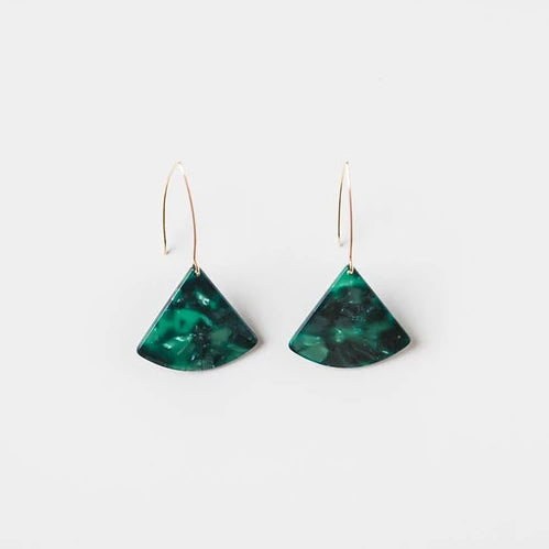 M STREET STUDIO - Marbled Green Acrylic Slice + Wire Earring