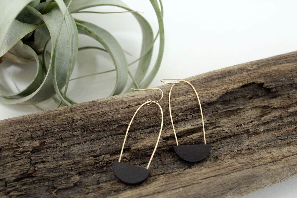Half Moon Earrings - Black Clay