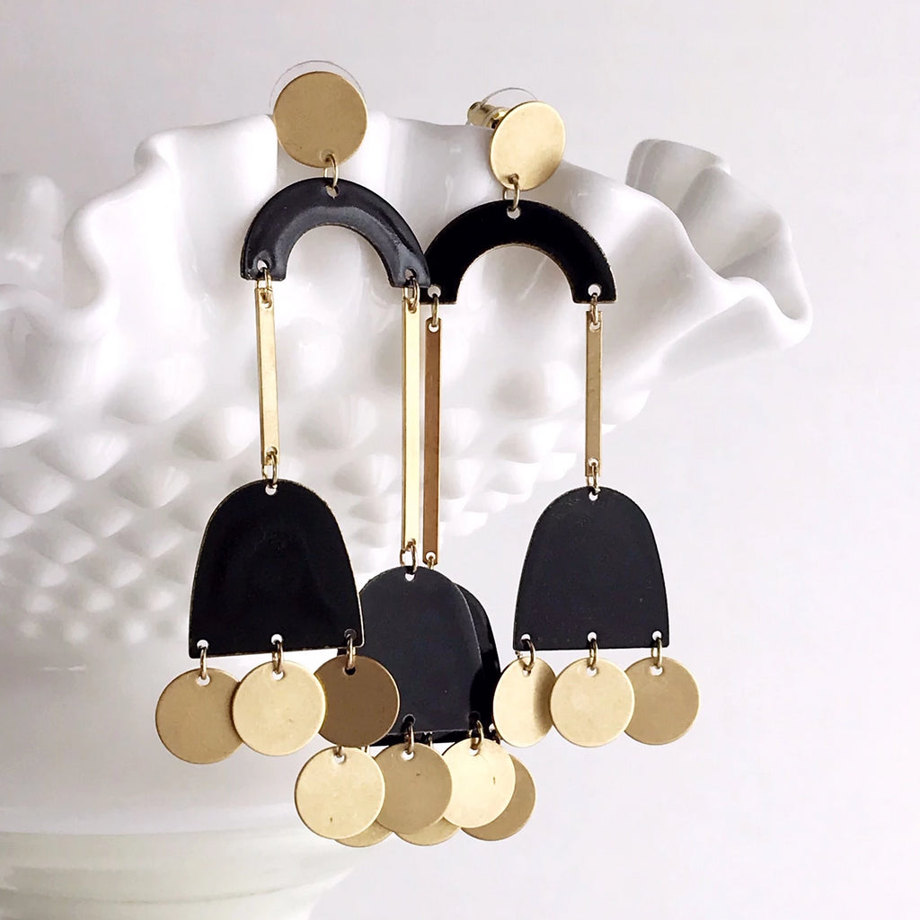 Clio Earrings - Night / Brass