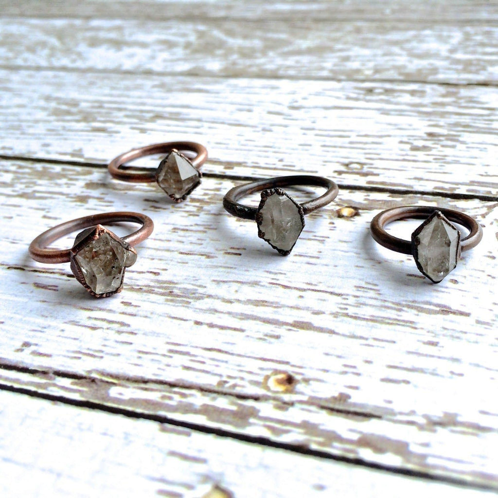 Electroformed Copper Crystal Ring