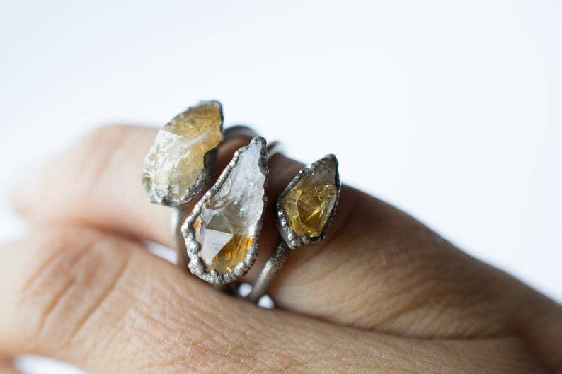 Oxidized Silver Citrine Ring