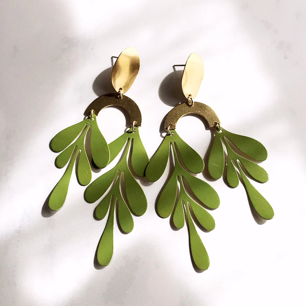 Tendril earrings - cactus