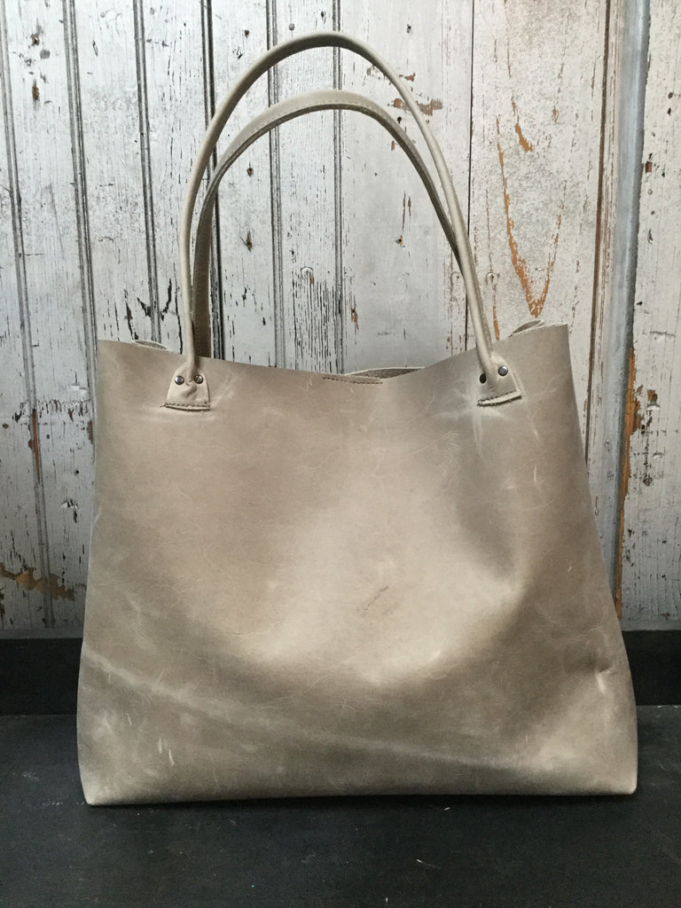 Gray Boxy Leather Bag