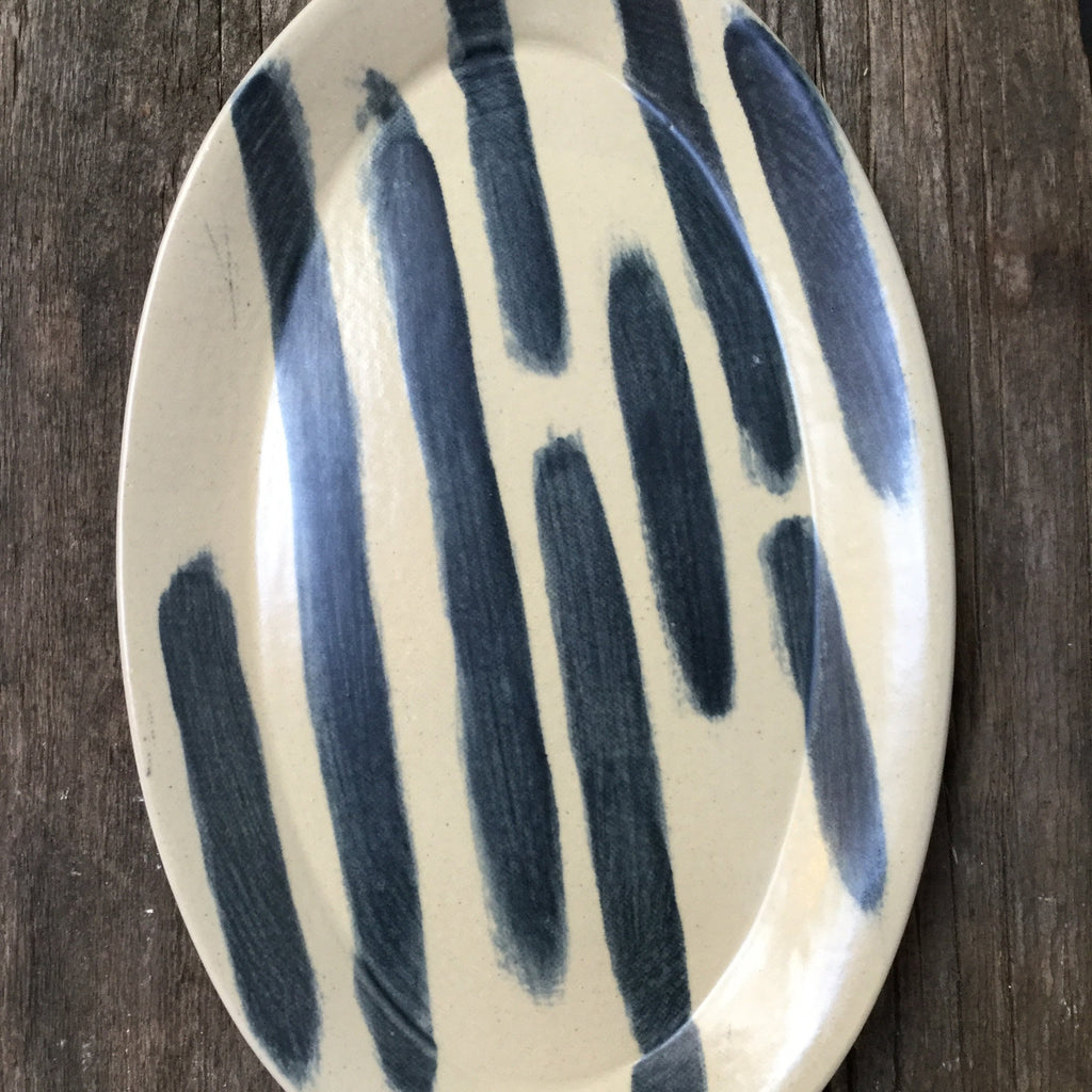 Black & White Striped Small Platter