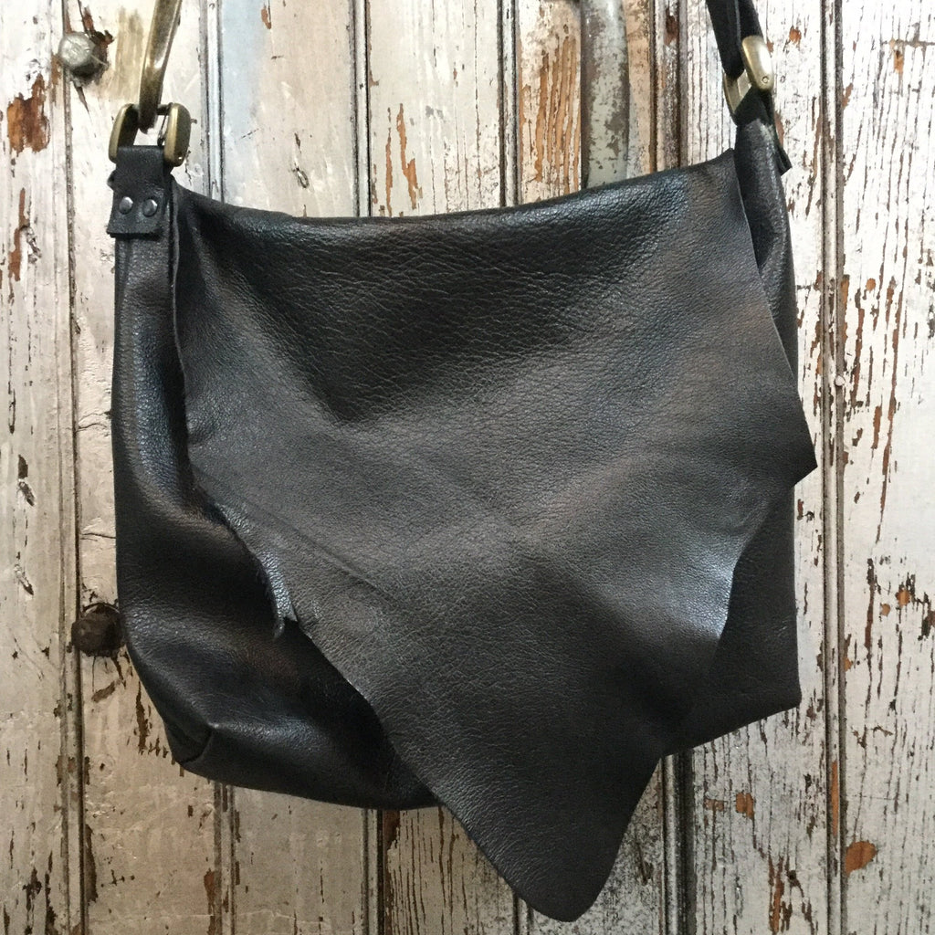 Black Leather Crossbody Large