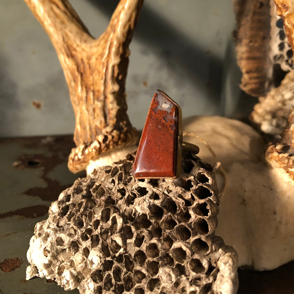 Red Jasper Brass Ring