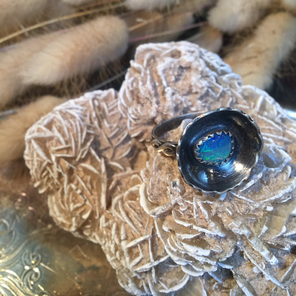 Austrailian Opal Flower Ring
