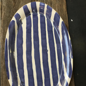 Blue & White Large Striped Platter