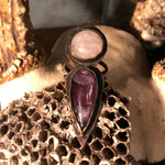 Rose Quartz and Amethyst Ring