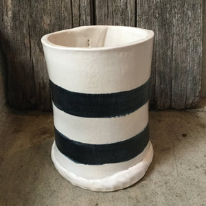 Tall B/W Striped Canister