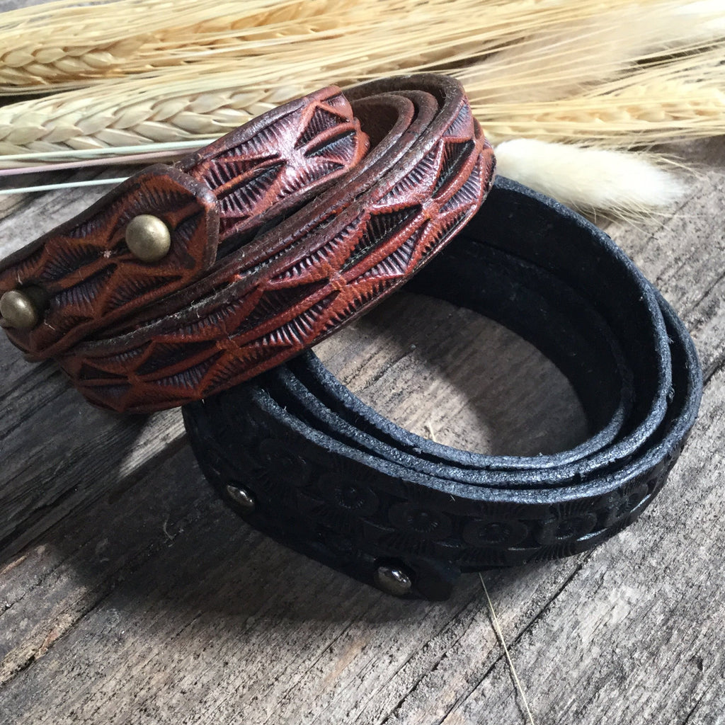 "34"" Tooled Leather Wrap Bracelet"