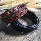 Tooled Leather Wrap Bracelet