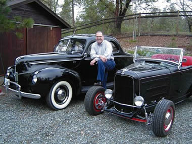 Bob at his home in the mountains of southern Oregon with his '40 standard coupe and '32 hiboy roadster.