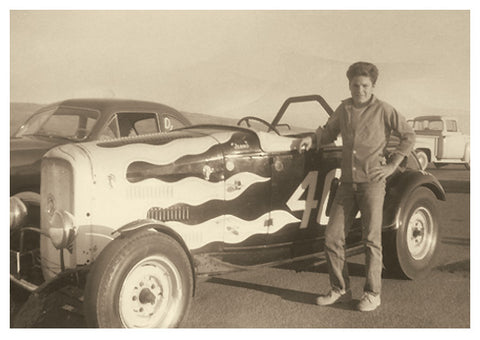 Bob at age 13 poses with the famous 404 deuce racer in 1956 at Cotati, near Santa Rosa, California.
