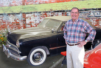 Bob Drake with his 1949 Ford convertible, the actual car that appeared in Rebel Without a Cause in 1955 starring James Dean, Natalie Wood, and Sal Mineo.