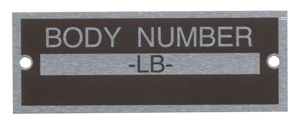 1933-34 BODY NUMBER PLATE
