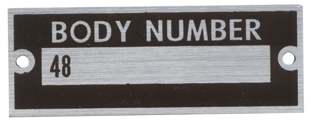 1935 BODY NUMBER PLATE