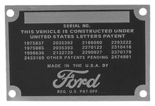 Load image into Gallery viewer, 1948-52 PICKUP PATENT DATA PLATE