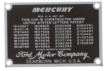 Load image into Gallery viewer, 1939-48 MERCURY PATENT DATA PLATE