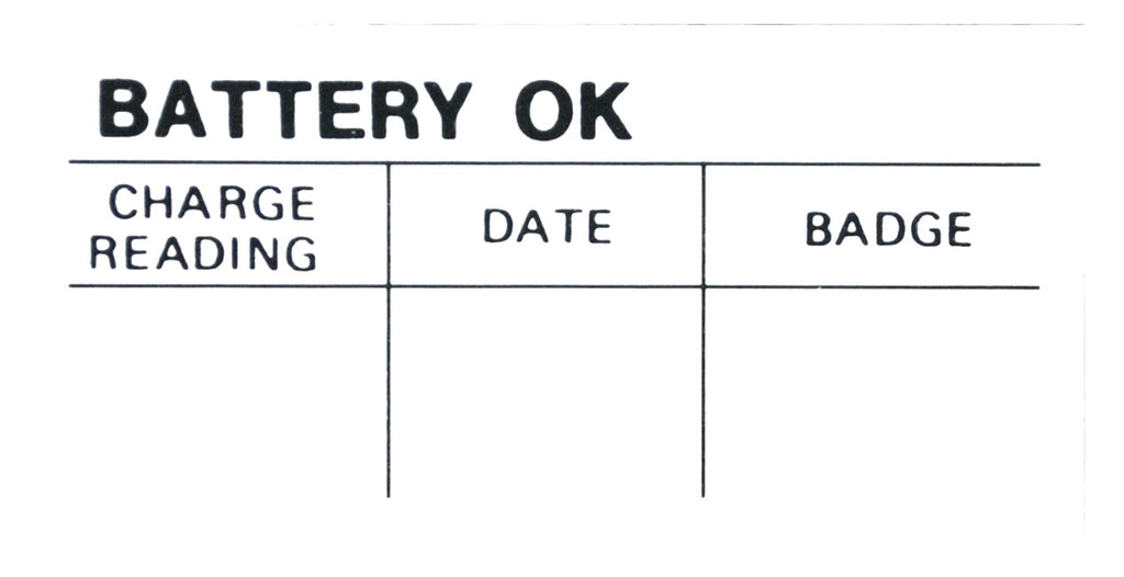 1964-85 PICKUP BATTERY TEST OK DECAL
