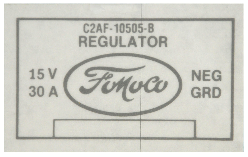 1962-64 PICKUP VOLTAGE REGULATOR DECAL W/AIR